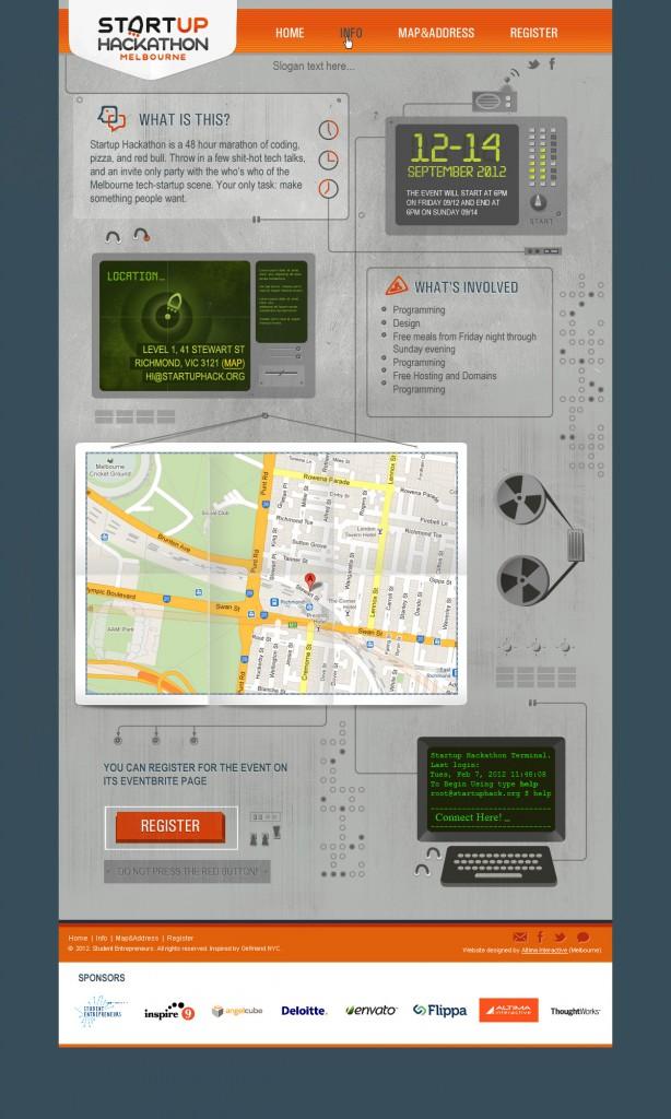Startup Hackathon Melbourne website