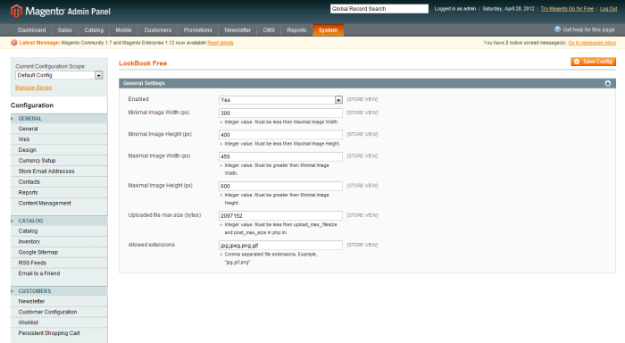 Altima LookBook Free Magento Extension admin interface configuration