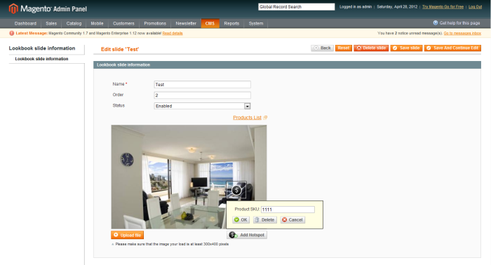 Altima LookBook Free Magento Extension admin interface edit hotspots